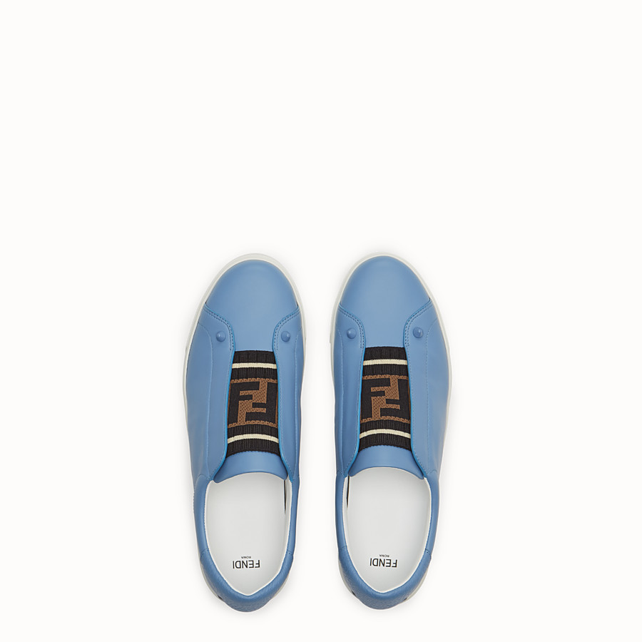 FENDI SNEAKERS - Pale blue leather slip-ons - view 4 detail