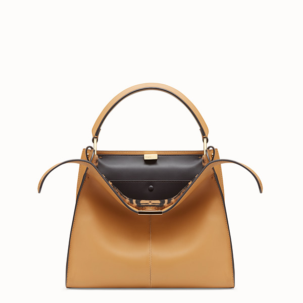 FENDI PEEKABOO X-LITE REGULAR - Beige leather bag - view 1 small thumbnail