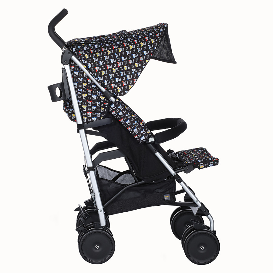 FENDI STROLLER - Blue stroller in fire-resistant material with monster pattern - view 3 detail