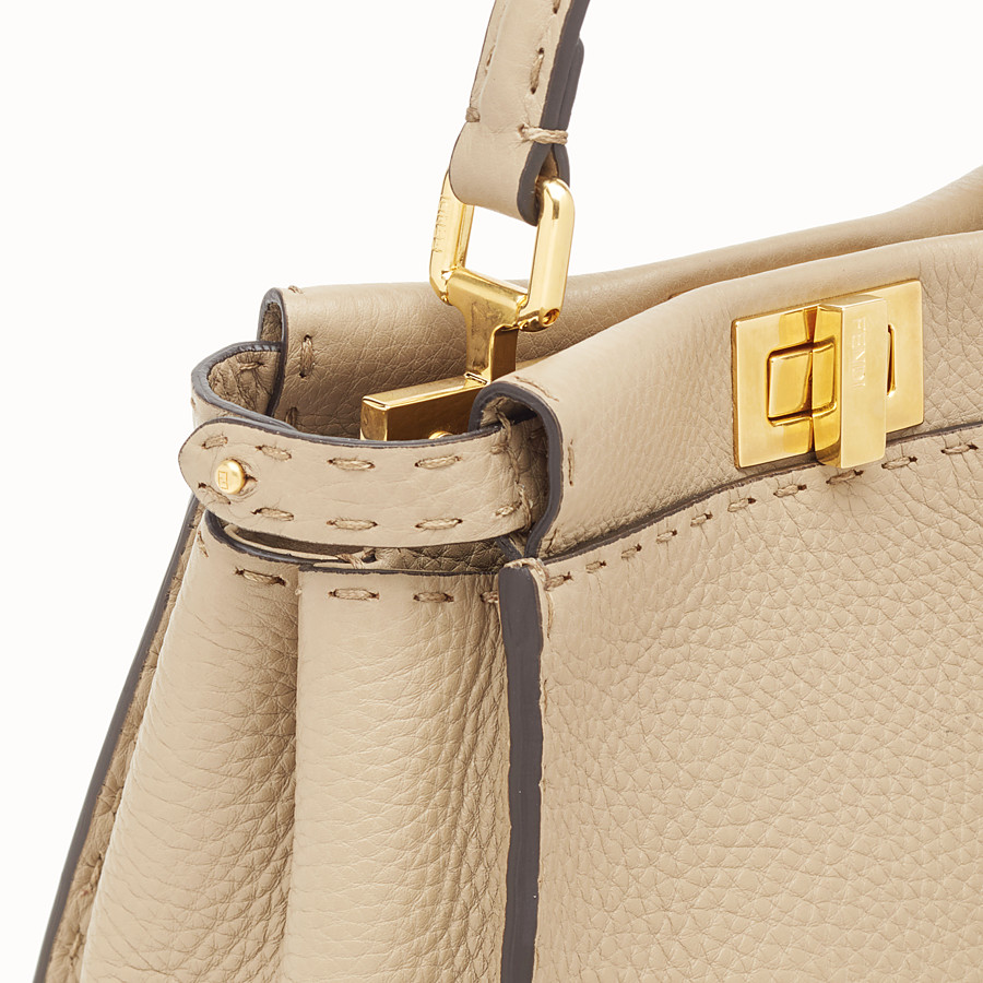FENDI PEEKABOO ICONIC MINI - Beige leather bag - view 5 detail