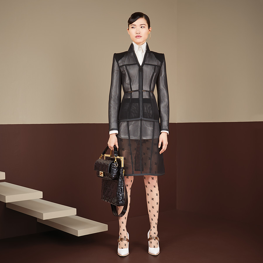 FENDI JACKET - Black micromesh jacket - view 4 detail
