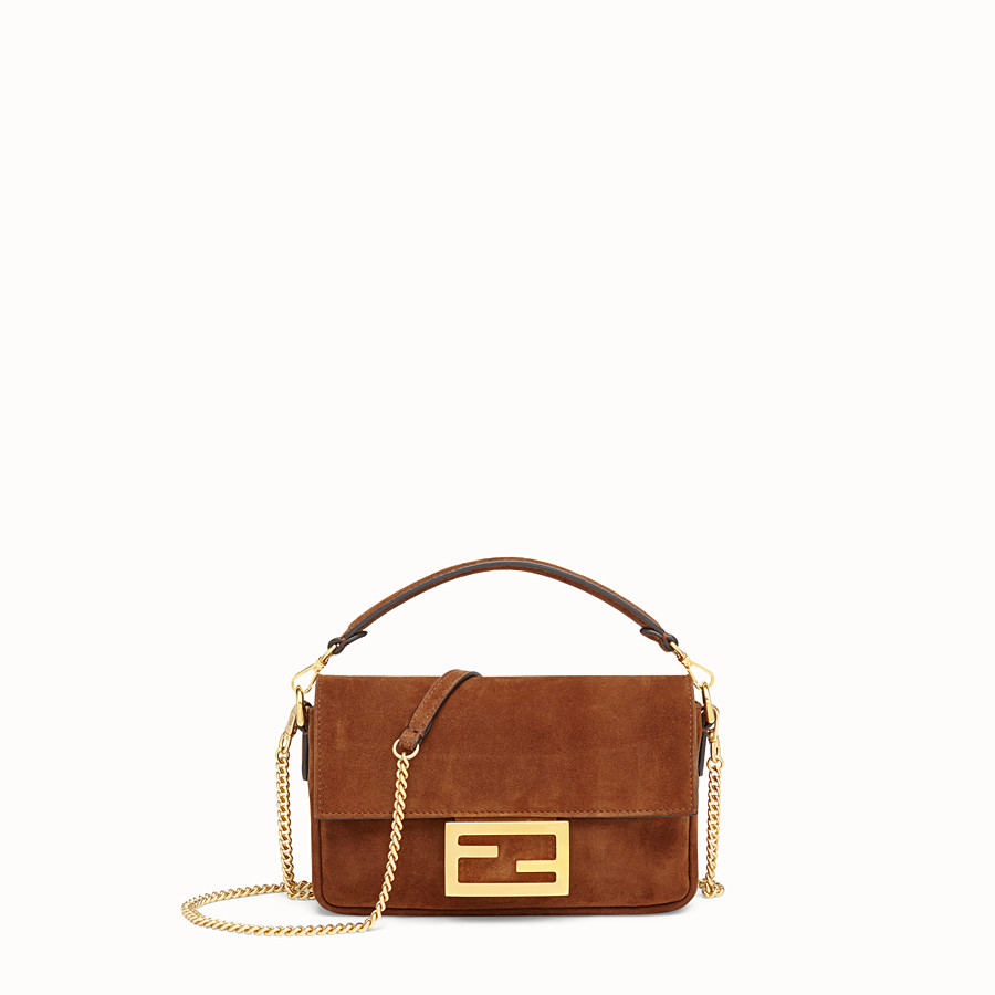 FENDI MINI BAGUETTE WITH CAGE - Brown suede and leather bag - view 3 detail