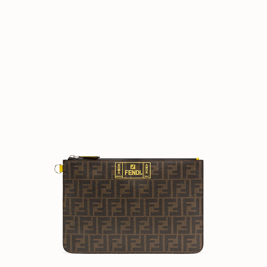 FENDI POUCH - Brown fabric pochette - view 1 detail