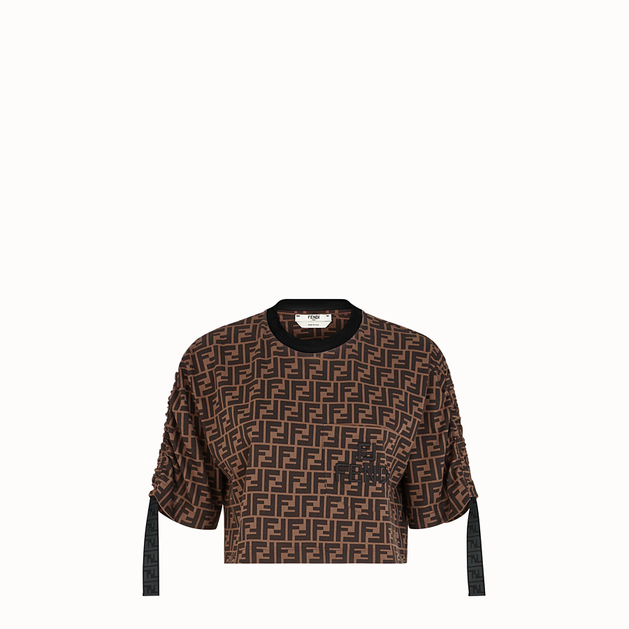 FENDI T-SHIRT - Brown cotton jersey T-shirt - view 1 detail