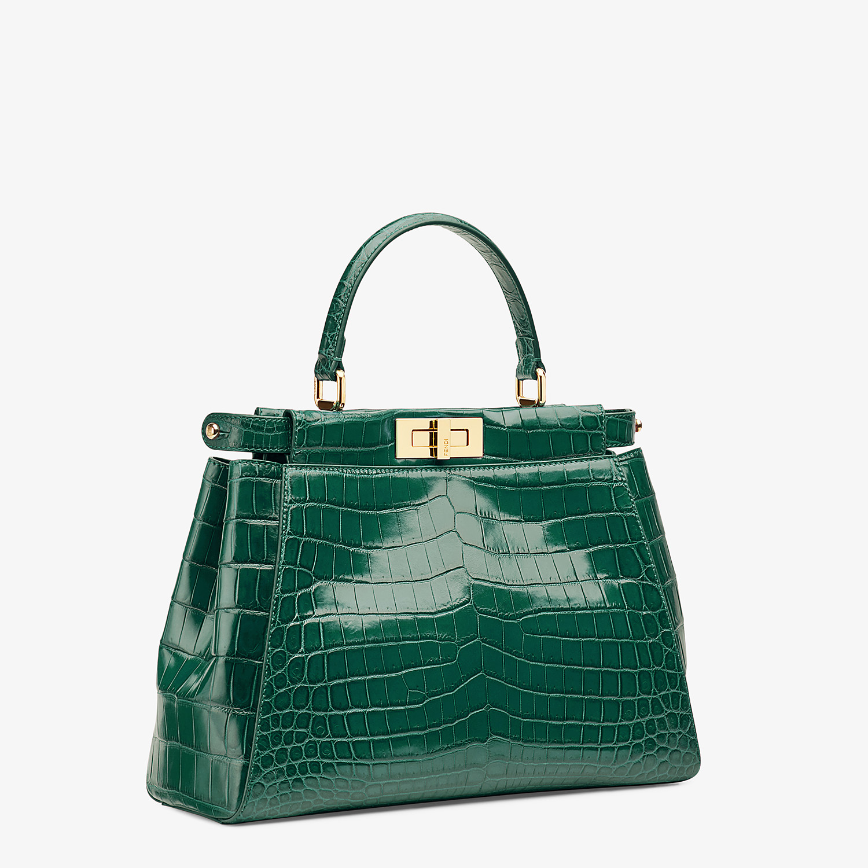 FENDI PEEKABOO MEDIUM - Emerald green crocodile leather handbag. - view 2 detail