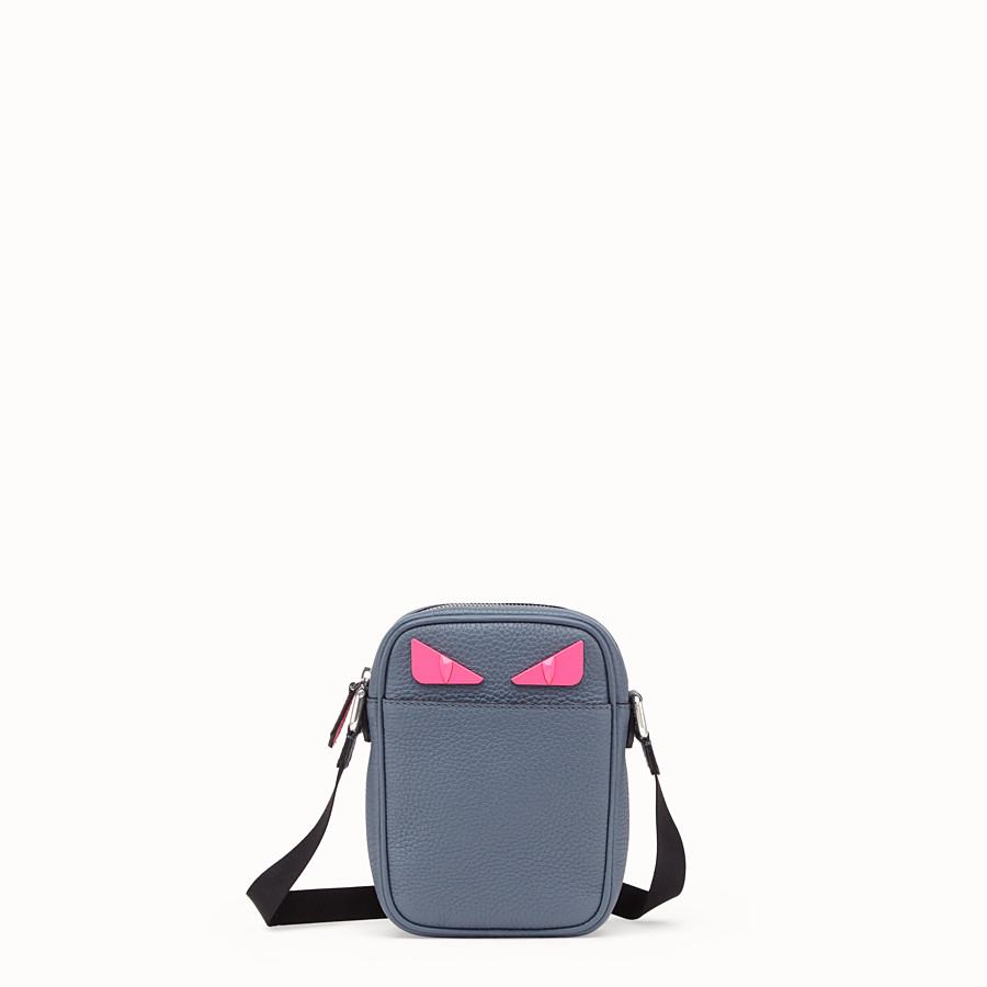 FENDI SMALL MESSENGER - Cross-body bag in gray Romano leather - view 1 detail