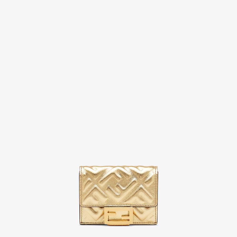FENDI MICRO TRIFOLD - Portemonnaie aus Leder in der Farbe Gold - view 1 detail