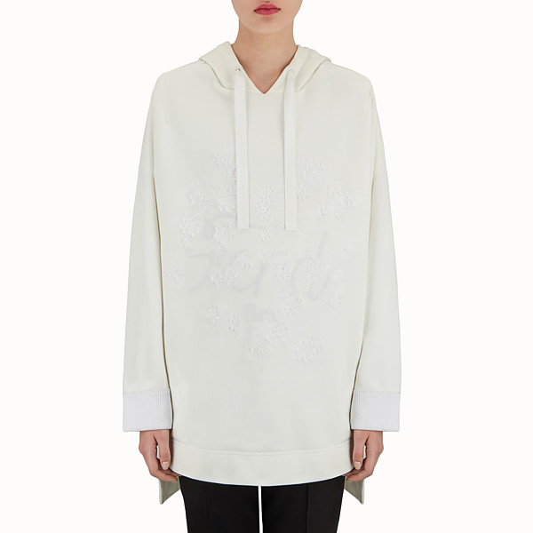 FENDI SWEATSHIRT - White cotton maxi sweatshirt - view 1 small thumbnail