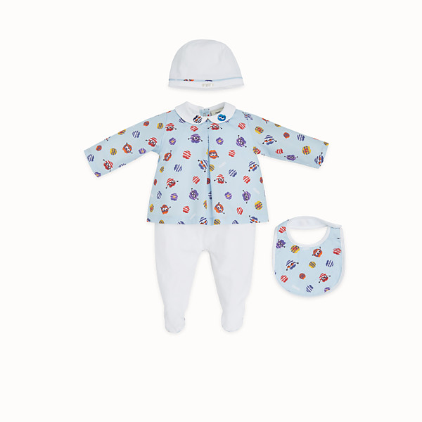 FENDI KIT NURSERY BABY BOY - Kit in jersey e popeline bianco e celeste multicolor - vista 1 thumbnail piccola