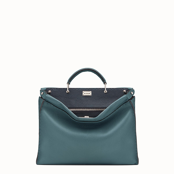 FENDI PEEKABOO ICONIC FIT - Green leather Selleria bag - view 1 small thumbnail