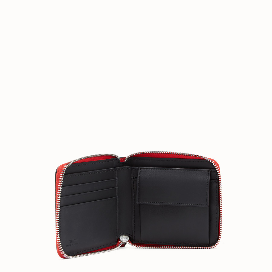 FENDI 全拉鏈式皮夾 - 紅色皮革皮夾 - view 3 detail