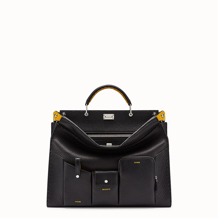 FENDI PEEKABOO ICONIC FIT - Black leather bag - view 1 detail