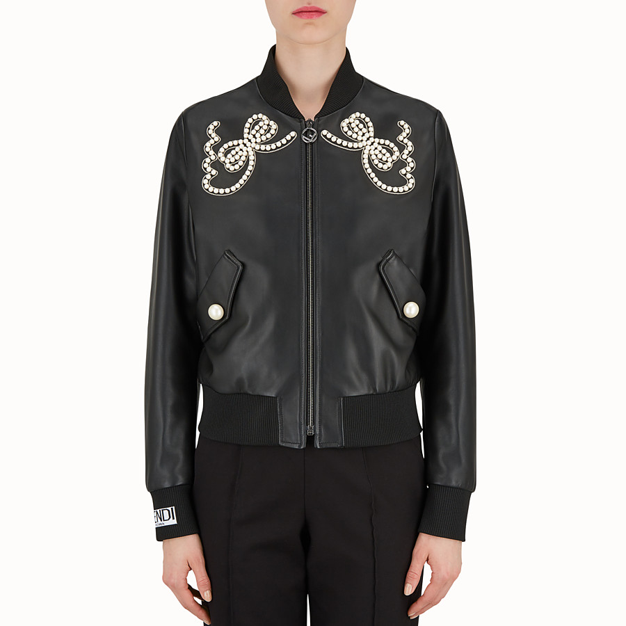 FENDI JACKE - Jacke aus schwarzem Leder - view 1 detail
