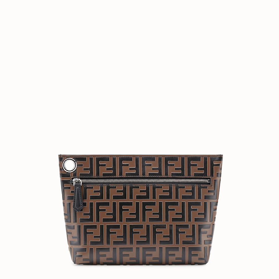 FENDI LARGE PYRAMID POUCH - Brown leather pouch - view 1 detail
