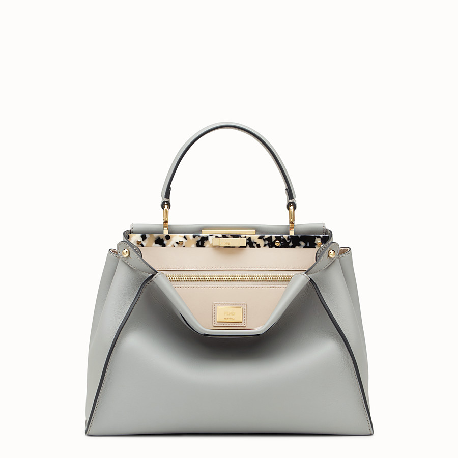 FENDI PEEKABOO REGULAR - Grey leather bag - view 1 detail