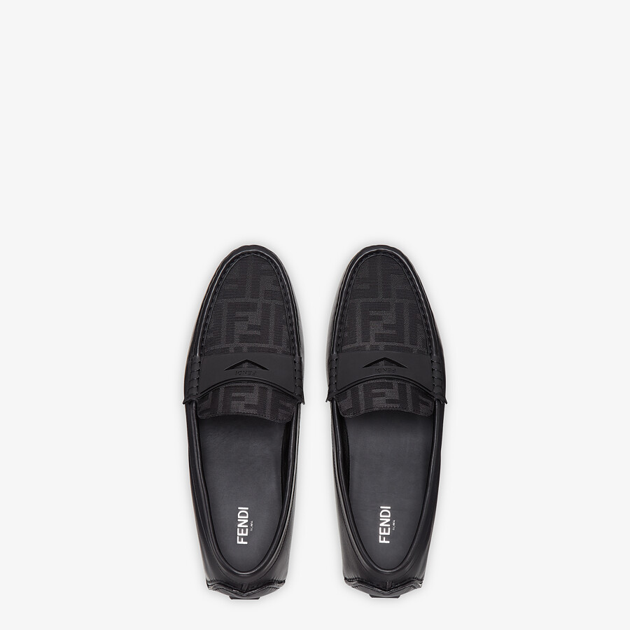 FENDI FF DRIVERS - Black leather driver loafers - view 4 detail