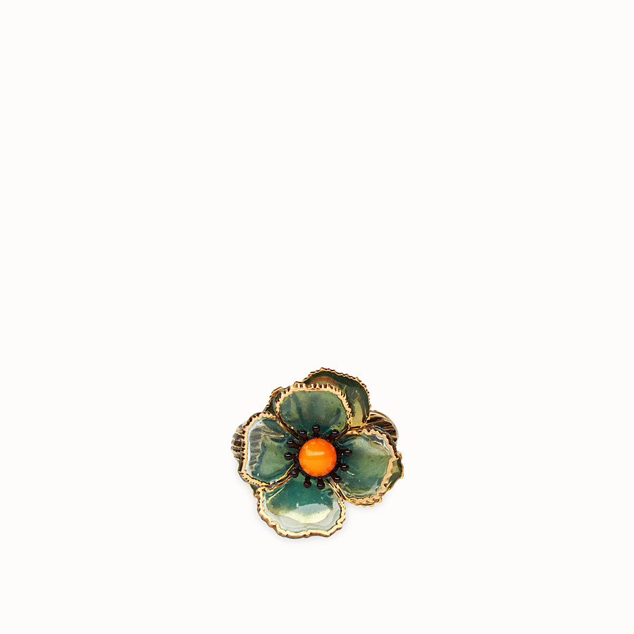 FENDI FLOWERS EARRINGS - Green enamel earring - view 2 detail