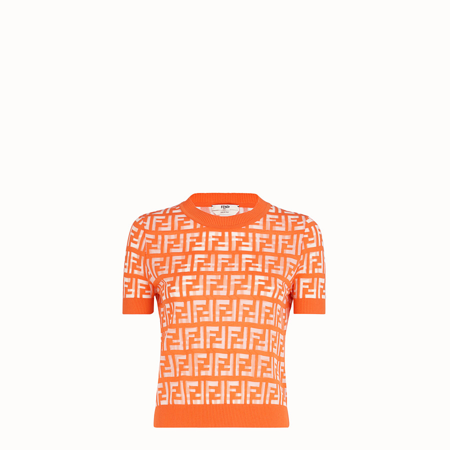 FENDI PULLOVER - Orange cotton jumper - view 1 detail