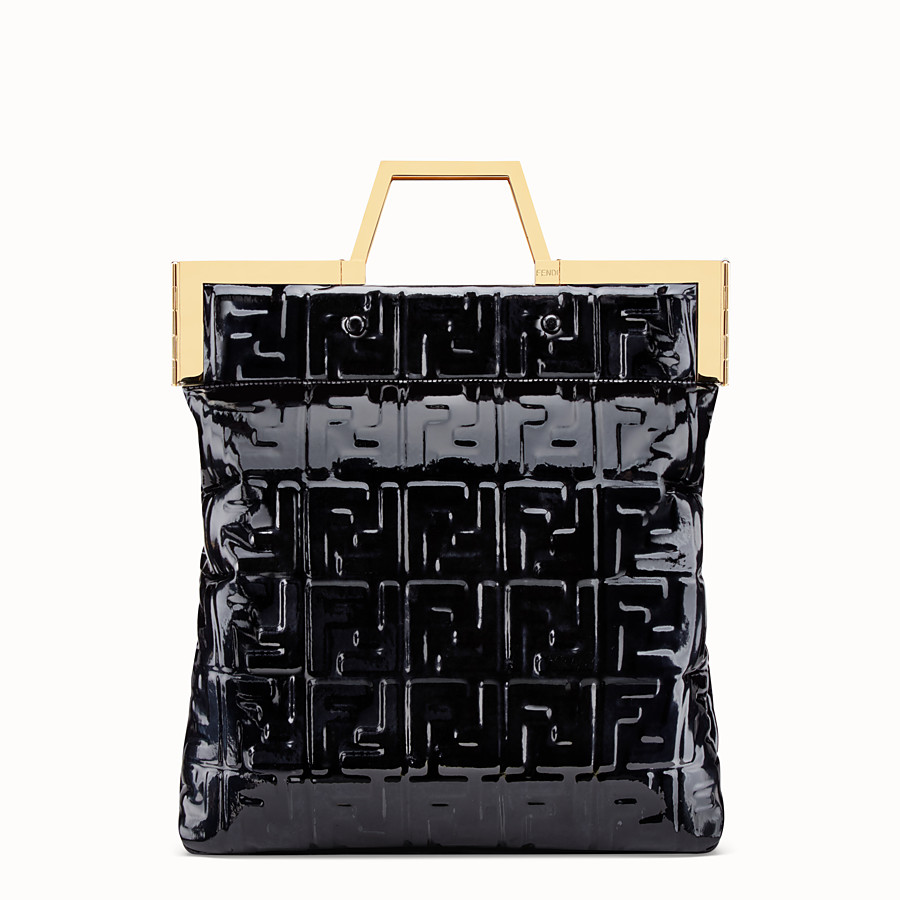 FENDI FLAT SHOPPING BAG MEDIUM - Black vinyl shopper bag - view 1 detail