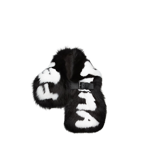 FENDI FENDI ROMA COLLAR - in black fur with white inlay - view 1 small thumbnail