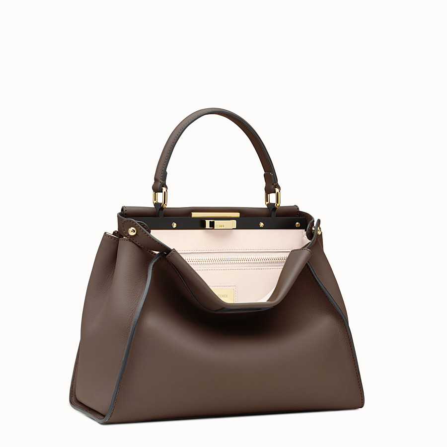 FENDI PEEKABOO REGULAR - Brown leather handbag - view 2 detail