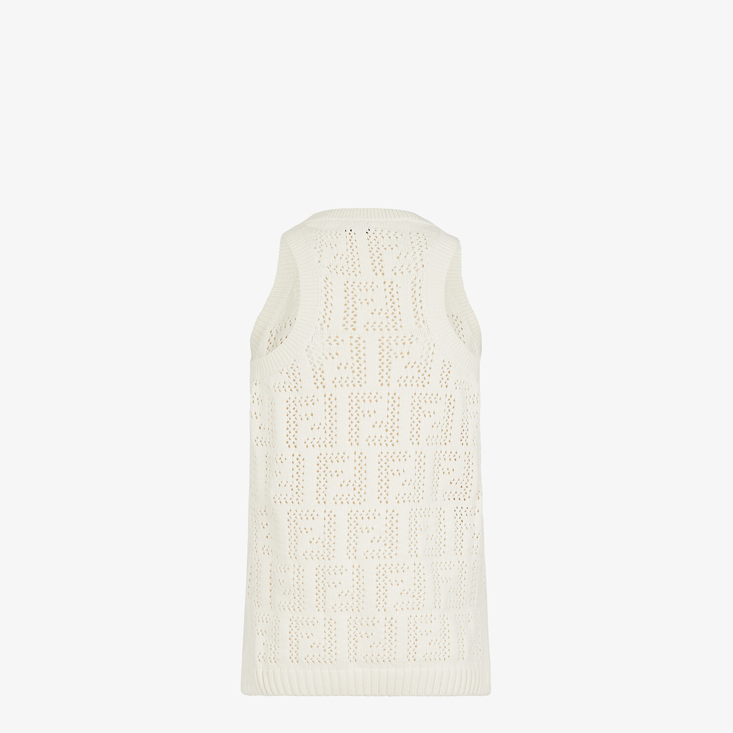 FENDI TANK TOP - White cotton tank top - view 2 detail