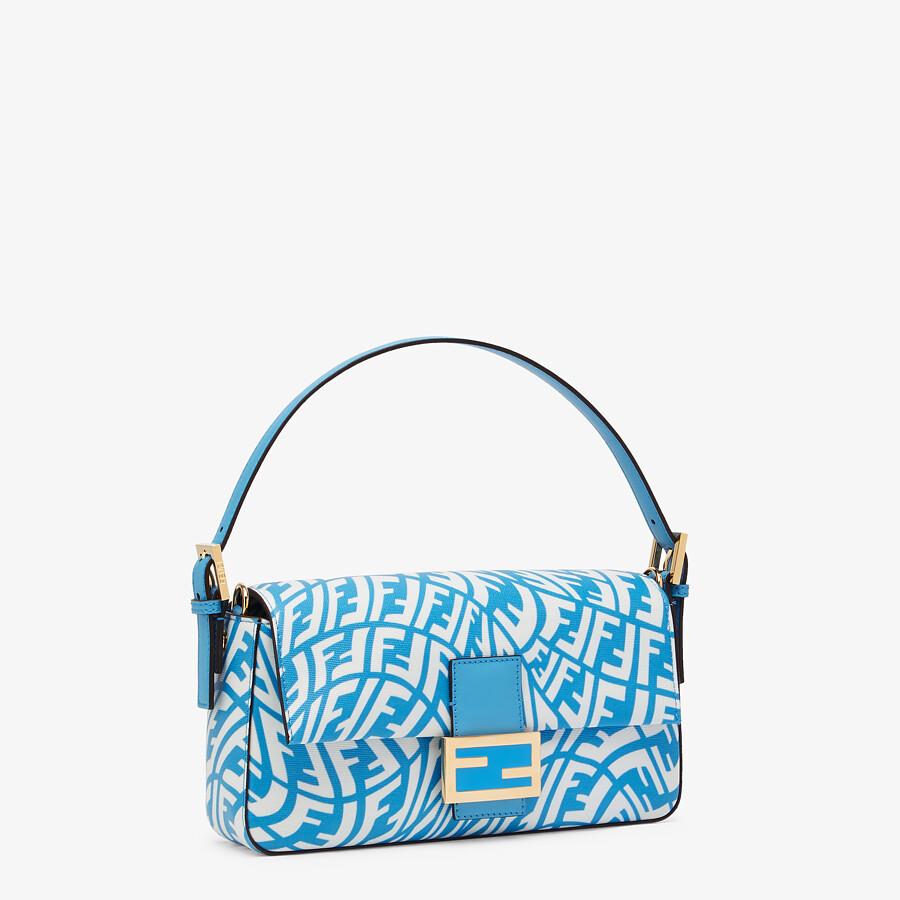 FENDI BAGUETTE 1997 - Blue glazed canvas bag - view 3 detail