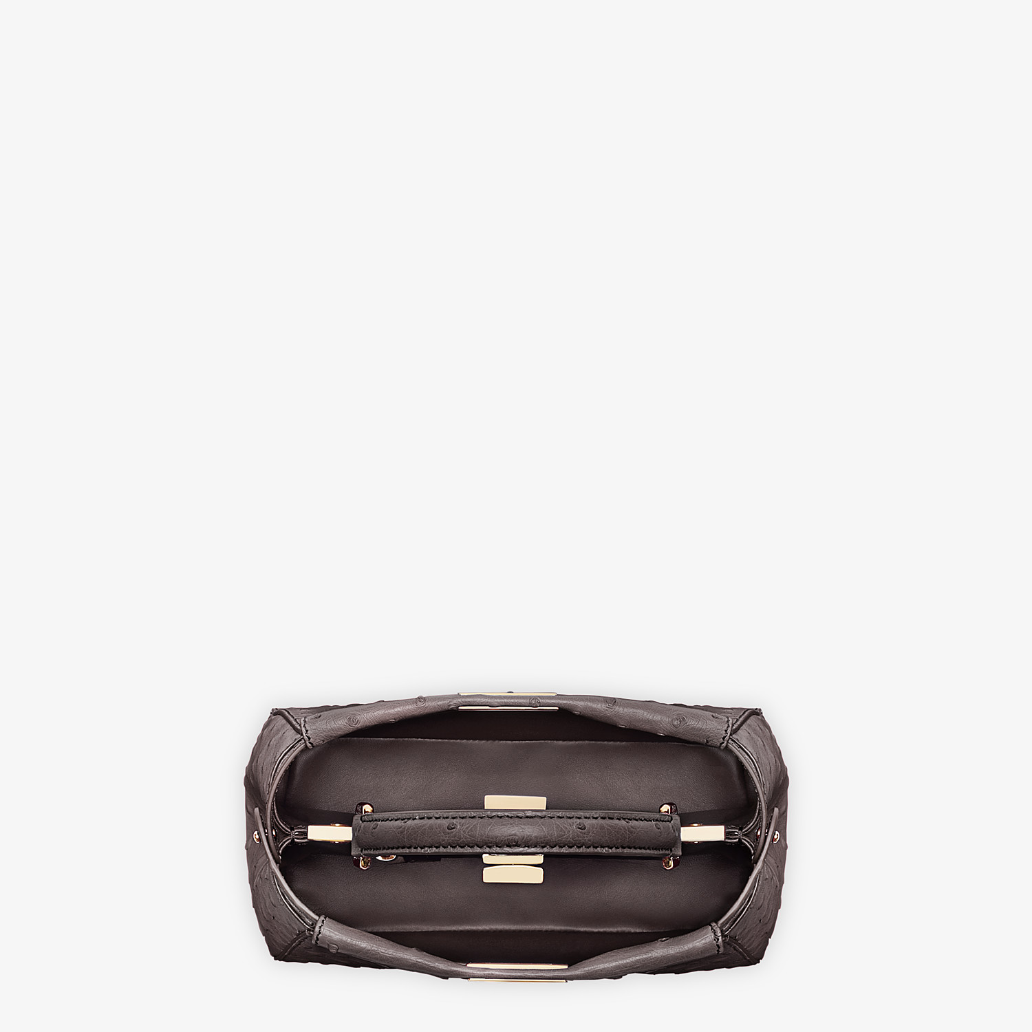 FENDI PEEKABOO ICONIC MINI - Brown ostrich leather bag - view 4 detail