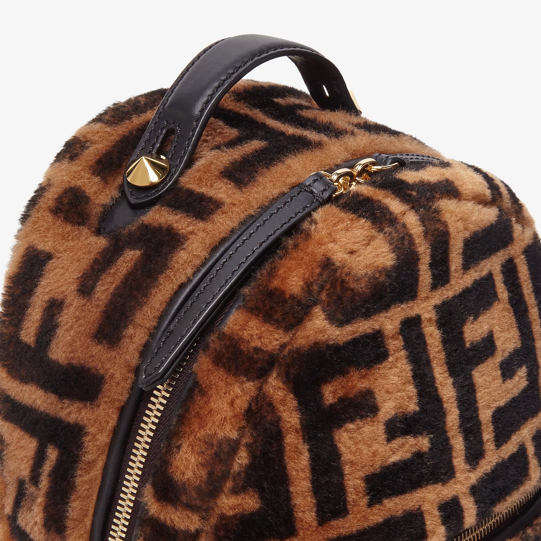 FENDI MINI BACKPACK - Small backpack in brown sheepskin - view 5 detail
