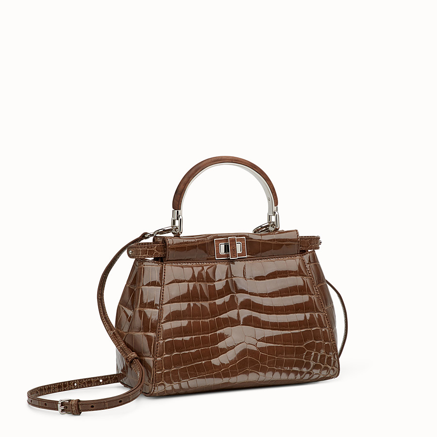 FENDI PEEKABOO MINI - Sac en crocodile marron - view 2 detail