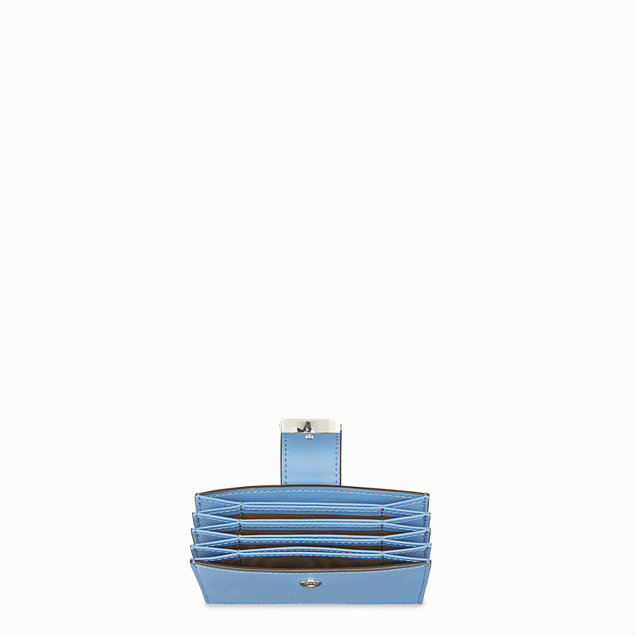 FENDI CARD HOLDER - Light blue leather gusseted card holder - view 4 detail