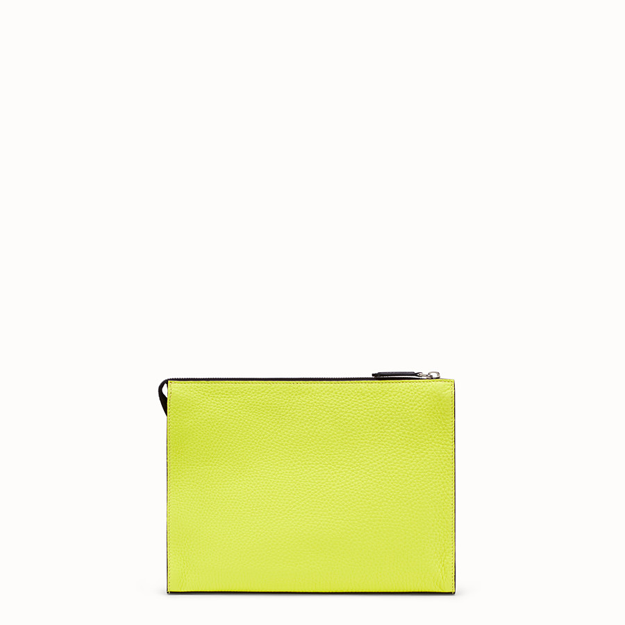FENDI CLUTCH - Yellow Romano leather pochette - view 3 detail