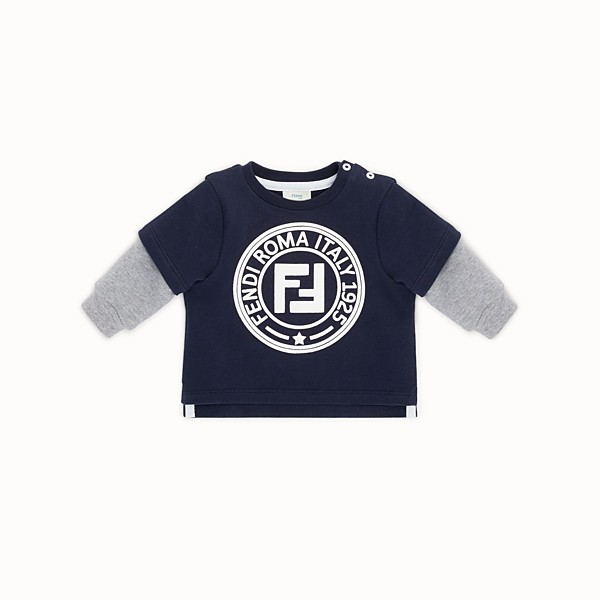 FENDI SWEATSHIRT - Blue cotton baby sweatshirt - view 1 small thumbnail