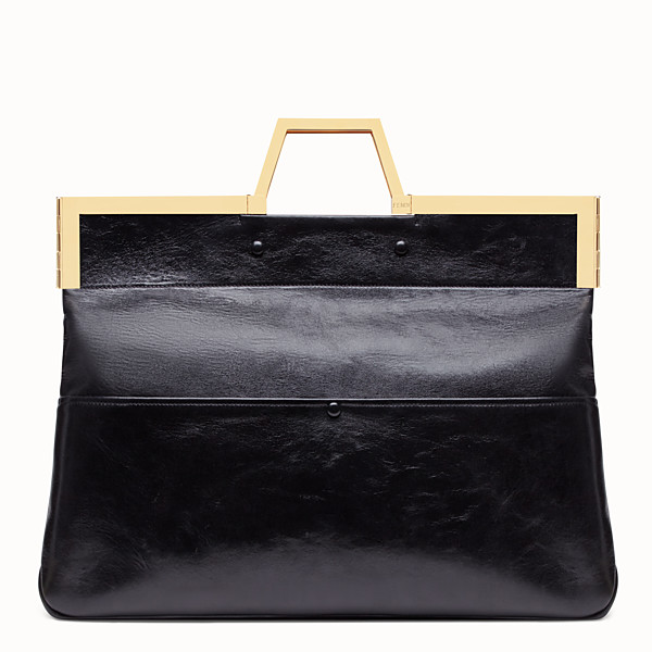 FENDI LARGE FLAT SHOPPING BAG - Black leather shopper - view 1 small thumbnail