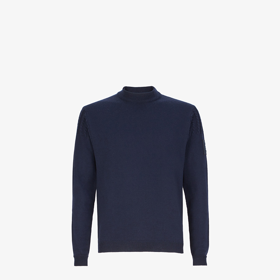 FENDI PULLOVER - Blue wool sweater - view 1 detail