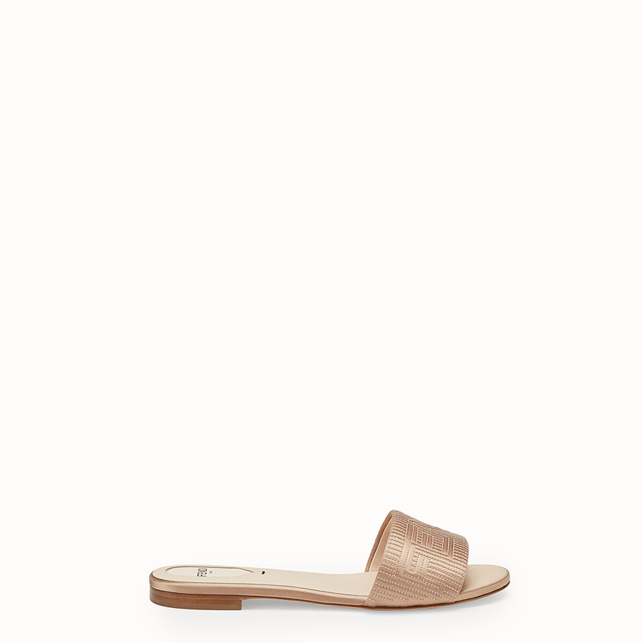 FENDI SABOTS - Beige satin slides - view 1 detail