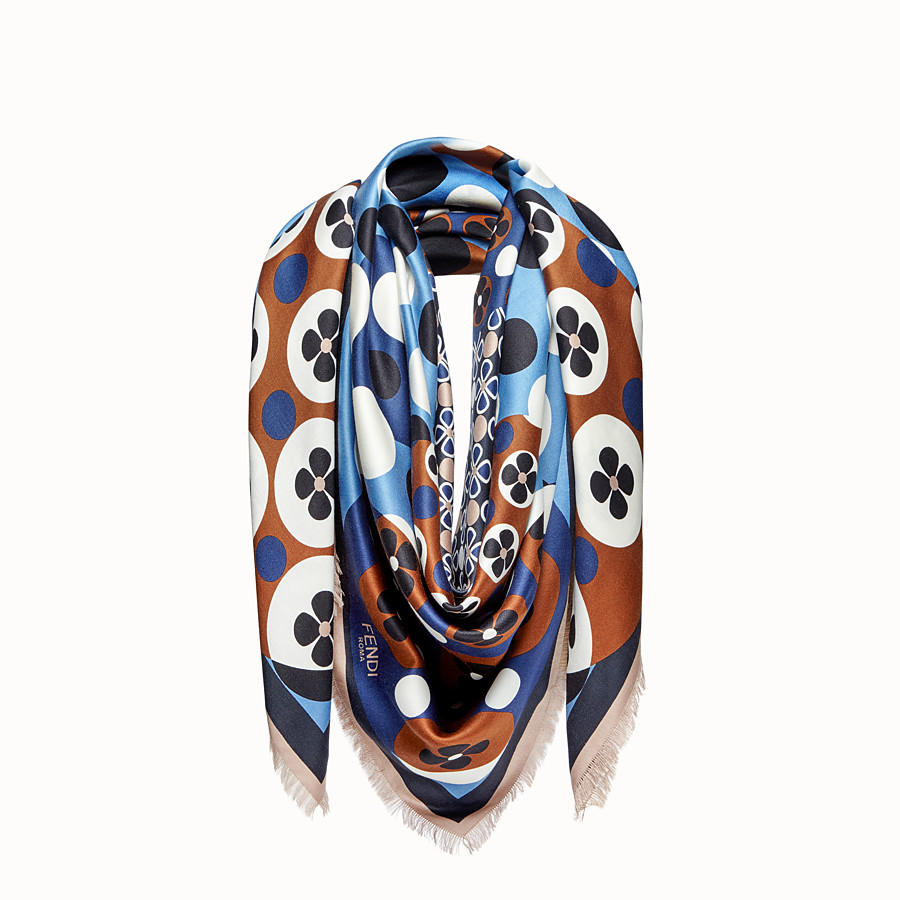 FENDI FLOWERS SHAWL - Multicolour silk and wool shawl - view 1 detail