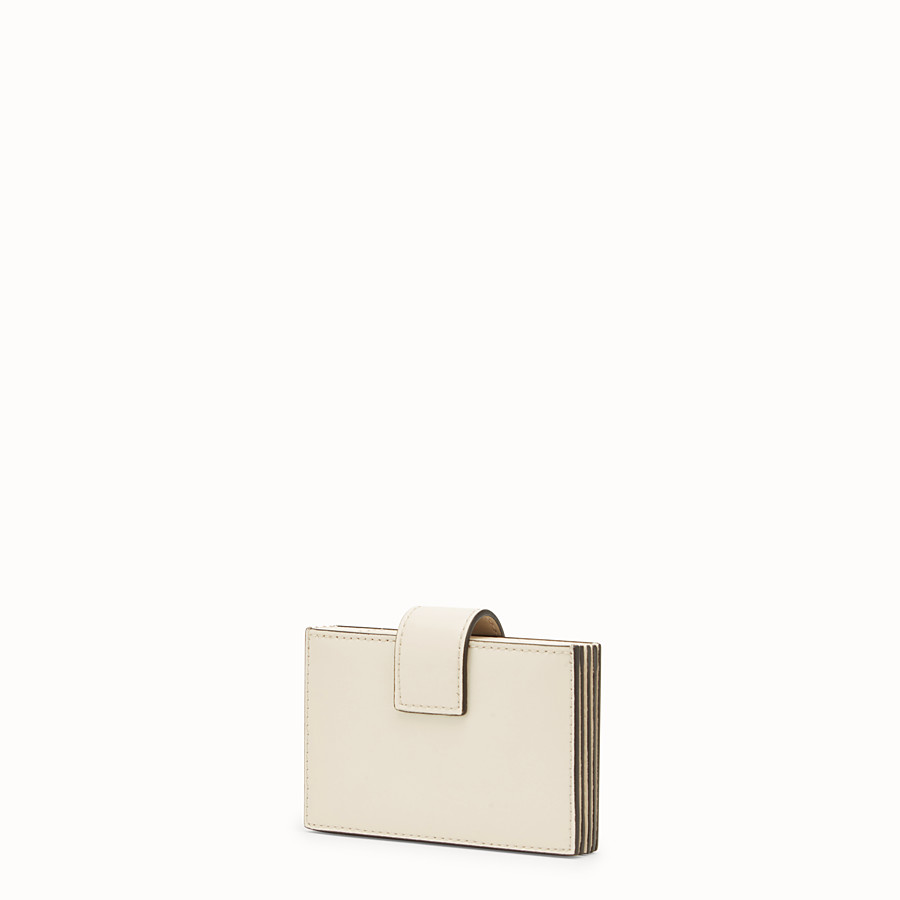 FENDI CARD HOLDER - White leather gusseted card holder - view 2 detail