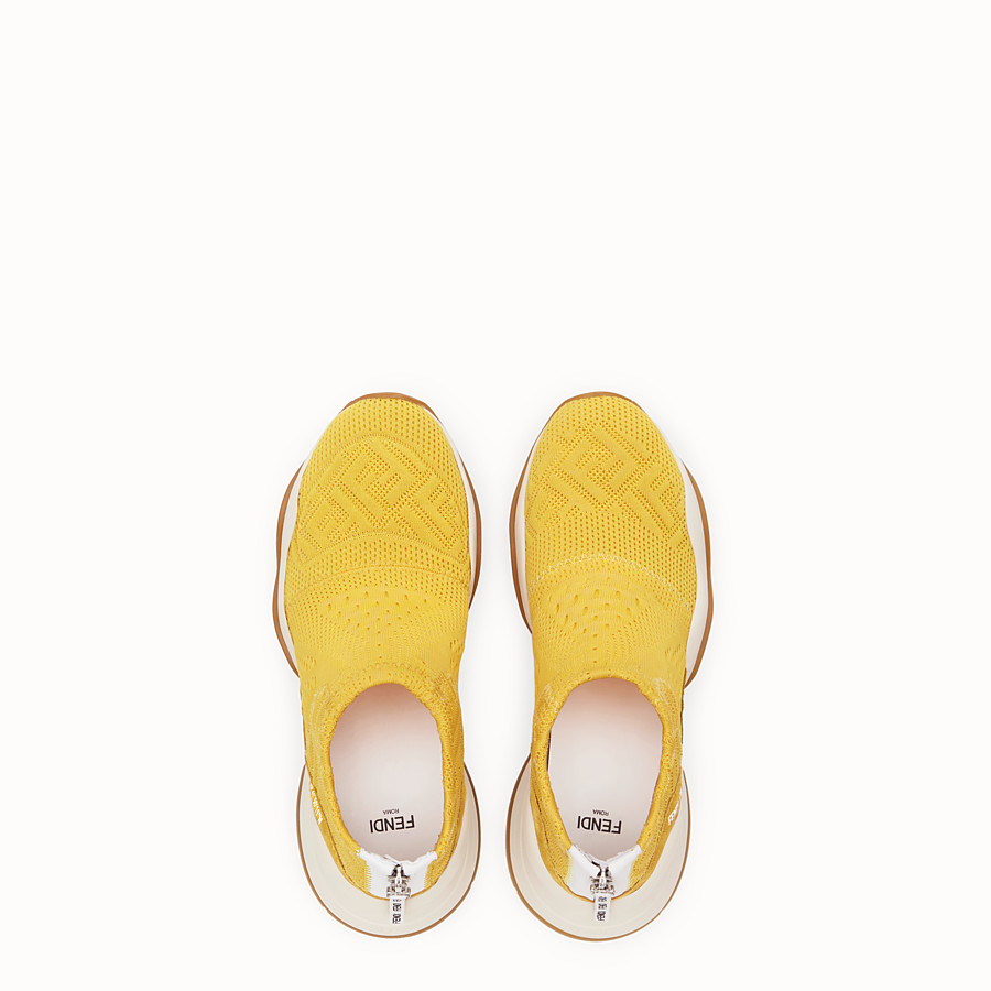 FENDI SNEAKERS - High-tech yellow jacquard sneakers - view 4 detail
