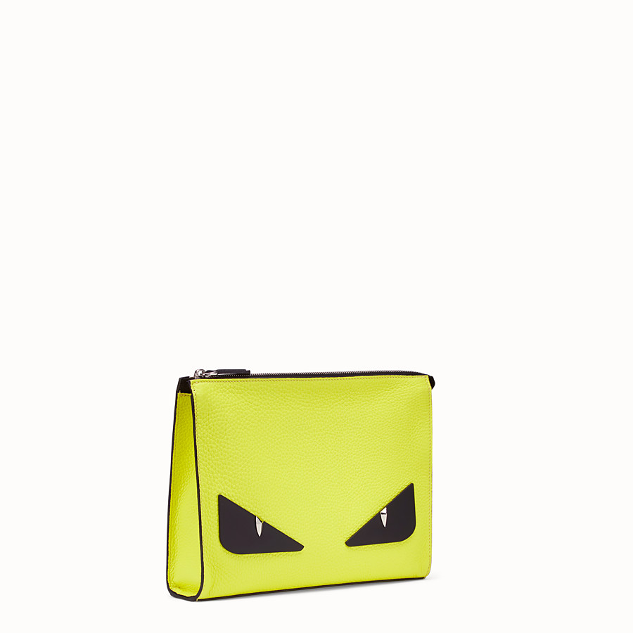 FENDI CLUTCH - Yellow Romano leather pochette - view 2 detail