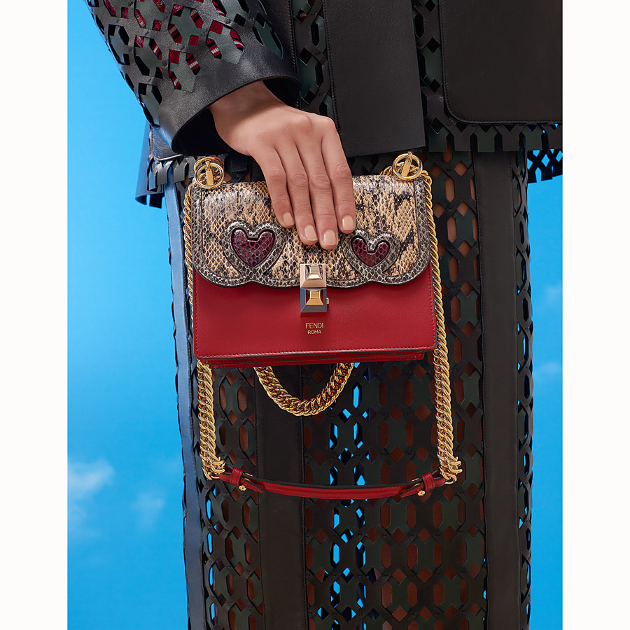 FENDI KAN I SMALL - Red leather mini-bag with exotic details - view 5 detail