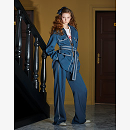 FENDI TROUSERS - Blue wool trousers - view 4 thumbnail