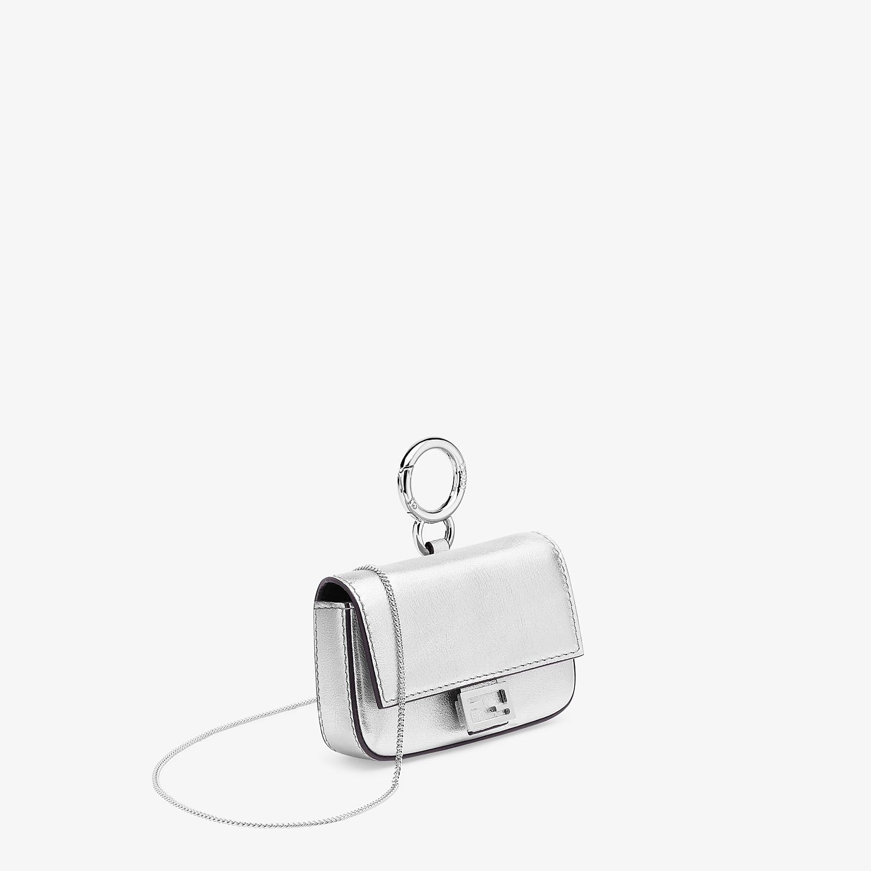 FENDI NANO BAGUETTE - Silver leather charm - view 2 detail