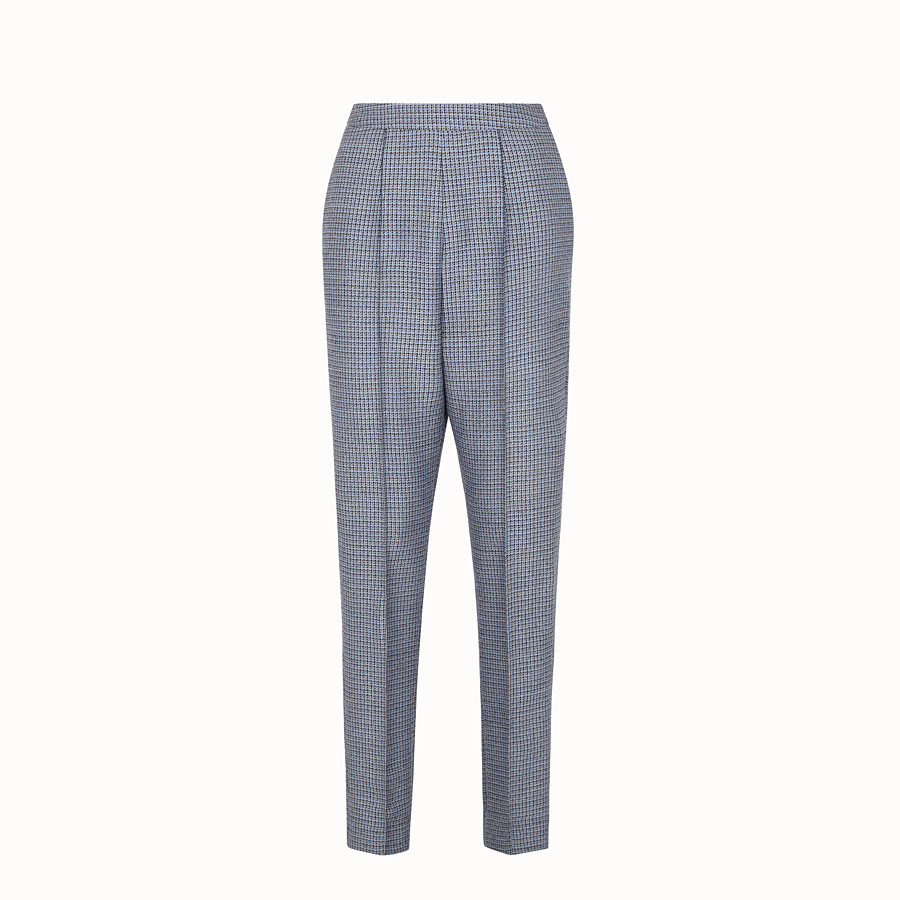FENDI TROUSERS - Wool and silk Micro-check trousers - view 1 detail