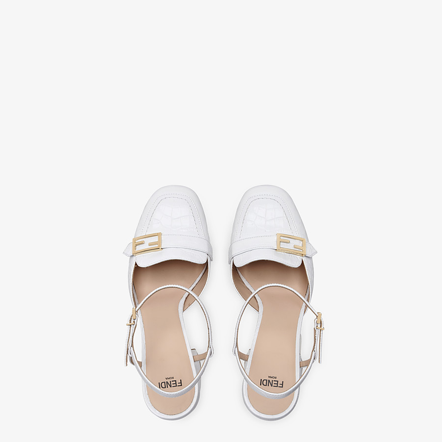 FENDI PUMPS - White leather Promenade loafers - view 4 detail