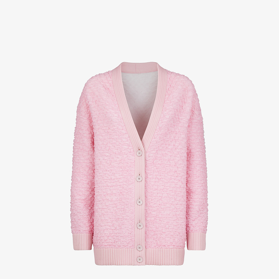 FENDI CARDIGAN - Pink embossed viscose cardigan - view 1 detail