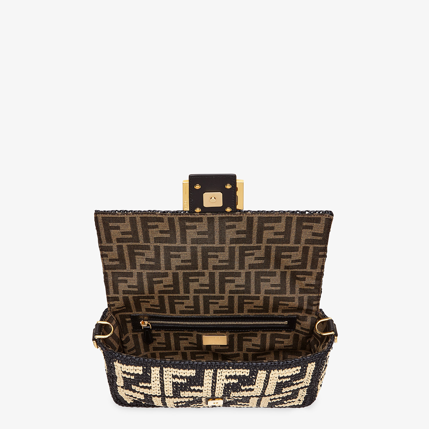FENDI BAGUETTE - Black raffia FF bag - view 5 detail