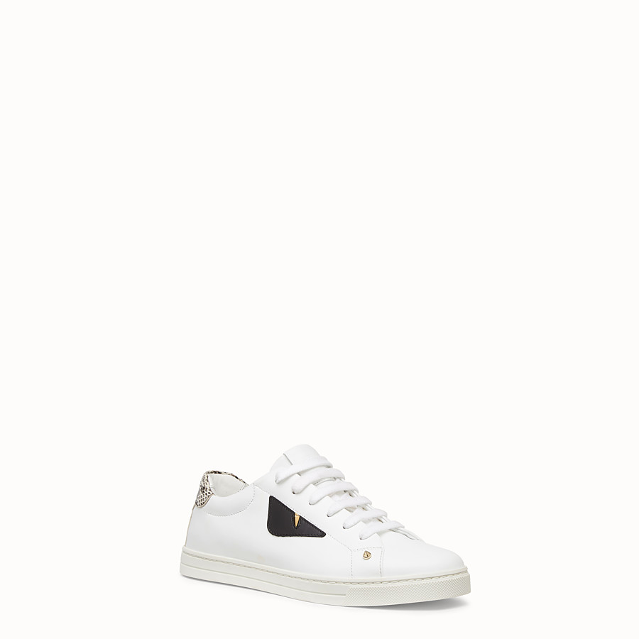 FENDI SNEAKERS - White leather sneakers with exotic details - view 2 detail