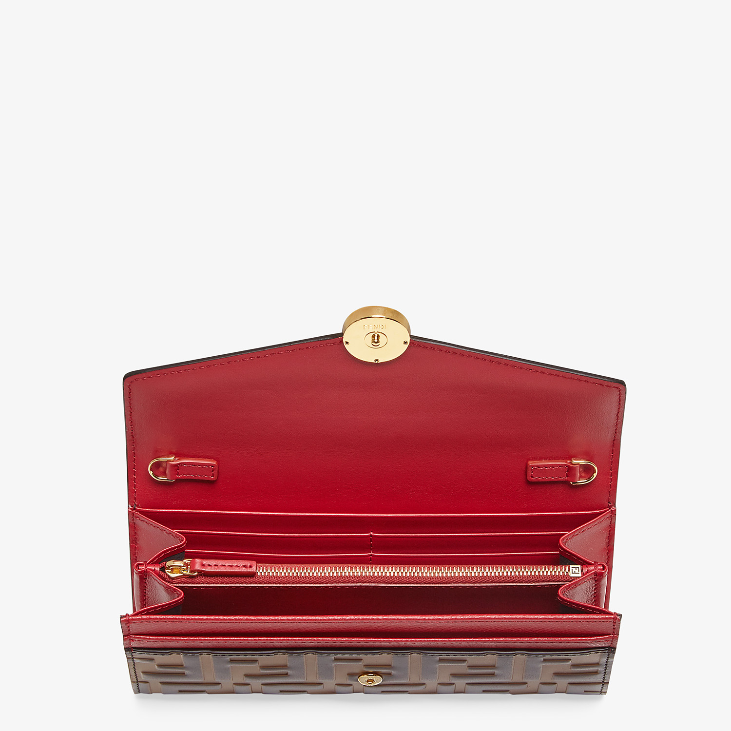 FENDI CONTINENTAL WITH CHAIN - Red leather wallet - view 4 detail