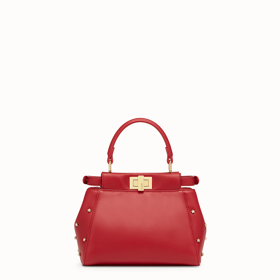 FENDI PEEKABOO ICONIC XS - Red leather mini-bag - view 3 detail